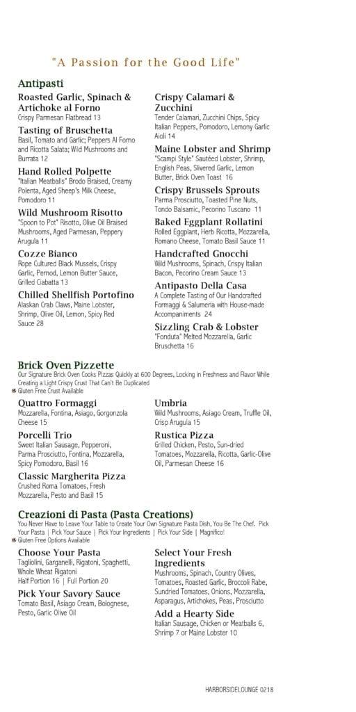 La Bella Vita Lounge Menu - Page 1
