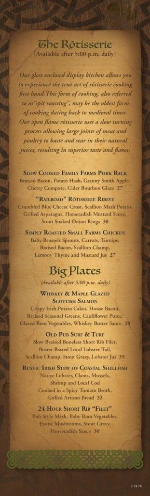 Paddy's in Bar Harbor, Maine - Menu